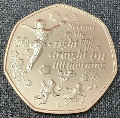 Peter Pan Fifty Pence 50p Coin 2019 Isle Of Man,   Peter Pan 2nd To Right BUNC
