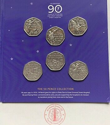 Peter Pan 50P Fifty Pence Full Coin Set Of 6 Coins 2019 Isle Of Man Bunc In Hand