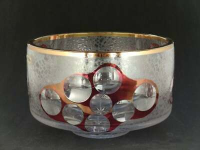 1960s Vintage Crystal Cut Glass Bowl - Gilt Gilding Gold Red Space Age Atomic