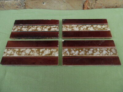 4 Original Victorian / Edwardian fireplace tiles 6inch x 3inch
