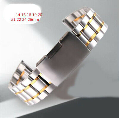 Curved Stainless Steel Metal Watch Solid Band Strap Replacemet Clasp 14-26mm