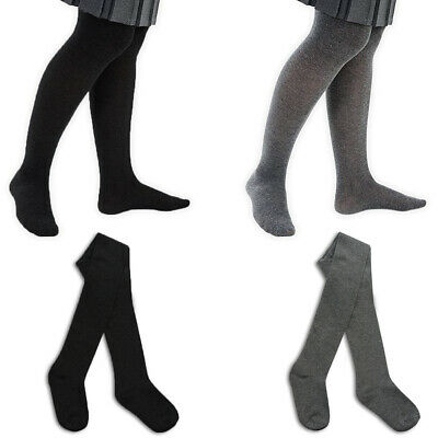 Cotton Rich Black or Grey Kids Age 2 - 12 Yrs Soft Girls School Tights