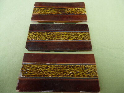 3 Original Victorian / Edwardian fireplace tiles 6inch x 3inch