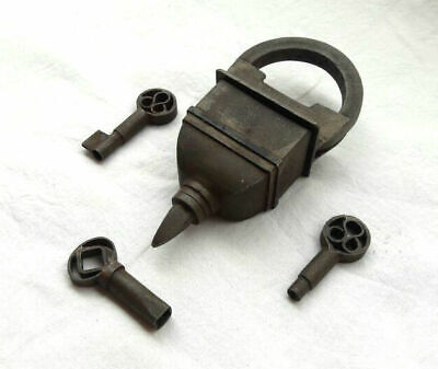 Vintage Old Antique Looking 3 Keys Tricky / Puzzle System Iron Lock ,Rich Patina