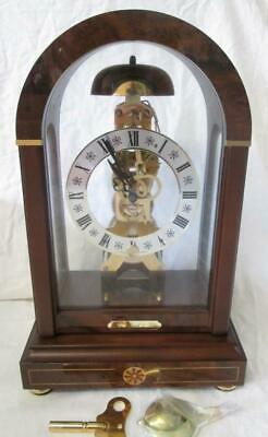 Superb Franz Hermle Stratford Burr Walnut, Inlaid Skeleton Mantle Clock Key Wind