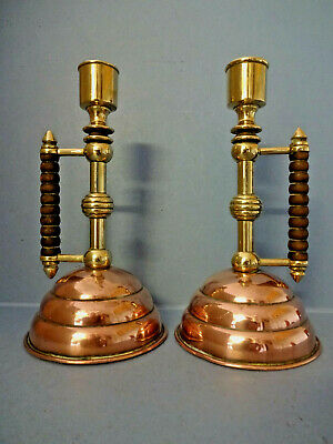 "PAIR COPPER & BRASS  ""BENHAM & FROUD"" ARTS & CRAFTS CANDLE STICKS, c 1864-1868."