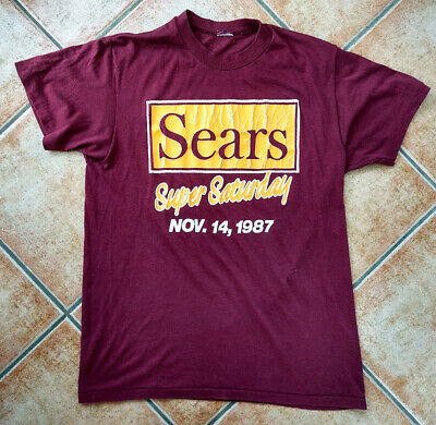 Vintage SEARS 'Super Saturday 1987' Burgundy T-shirt Eighties - Small to Medium