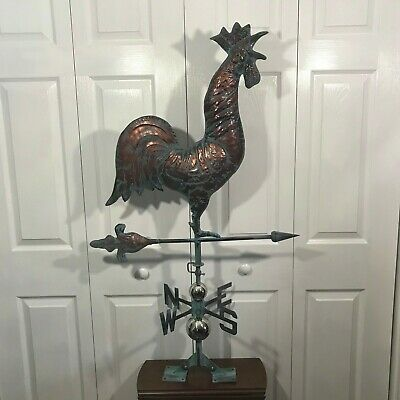 XL Crowing ROOSTER Weathervane AGED COPPER PATINA FINISH Functional NEW
