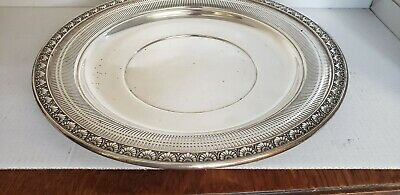 """Wallace 4139 Sterling Silver Reticulated Round Tray 9 1/4"""" No Mono"""
