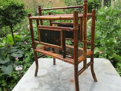 Lovely Antique Victorian Arts & Crafts Bamboo Magazine Rack Newspaper Stand