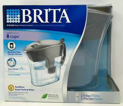 Brita Chrome Water Filtration Pitcher/Jug - New in Box, Factory Sealed w/Filter