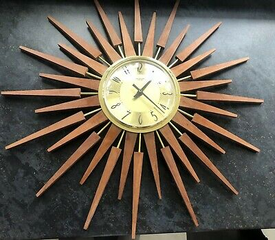 Original Retro Anstey & Wilson Large Sunburst Wall Clock 1960 Vintage Clock