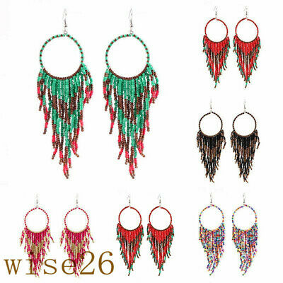 Fashion Retro Bohemian Ethnic Wind Long Style Rice Beads Fringed Women Earrings