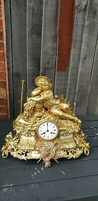 Antique French 8 day BRASS &MARBLE clock. Signed by Henry Marc  and Japy Freres.