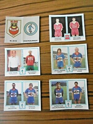 ⛹️‍♀️ Lot de 6 stickers - A.A.J BLOIS & CHATEAUROUX - PANINI FOOTBALL 80  ⛹️‍♂️