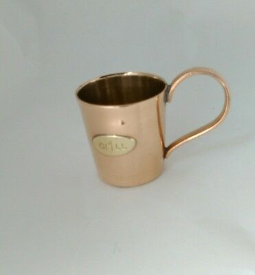 Used Vintage Copper Gi1LL Measuring Cup With Tin Lined