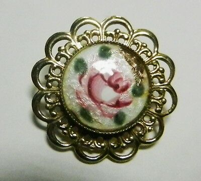 1960's Guilloche Enamel Pink Rose Green Leaves Goldtone Filigree Brooch AS-IS