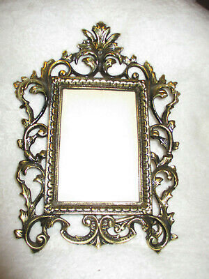 "Vintage~Ornate~Antique Gold Tone~Frame~Cast Iron~Art Nouveau~4.0"" x 5.75""~Easel"