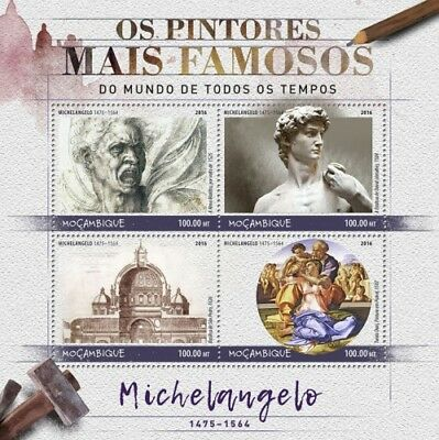 Mozambique 2016 Sheet Mnh Michelangelo Art Paintings Arte Pinturas Peintures 7