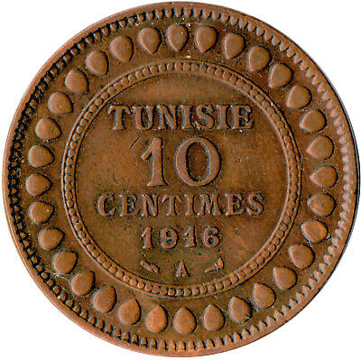 Coin / French Tunisia / 10 Centimes 1916 #Wt283