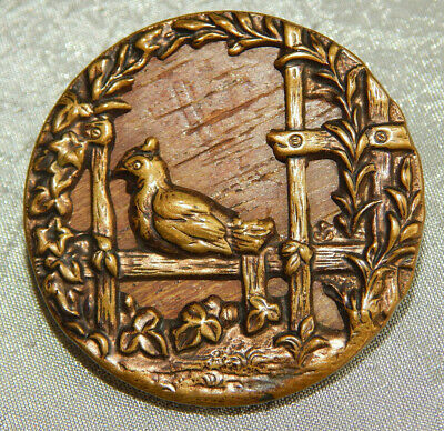 Large Antique Vintage Picture Button Brass & Wood Bird Fence Ivy #013-B