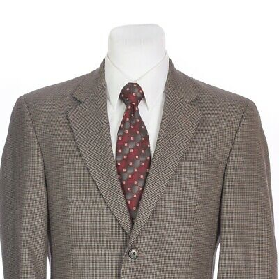 Jos A Bank Two Button Taupe Brown Blue Houndstooth Wool Sport Coat 38 Short 38S