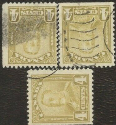 Stamps Canada # 152, 4¢, 1929, lot of 3 used stamps.