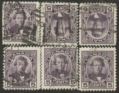 Stamps Canada # 146, 5¢, 1927, lot of 6 used stamps.