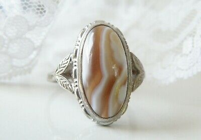Vintage Old Uncas Sterling Silver Brown White Striped Agate Chased Ring Size 8
