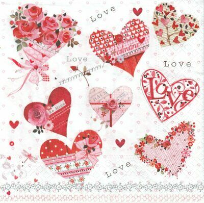 Lot de 2 Serviettes en papier Coeur Amour Decoupage Collage Decopatch