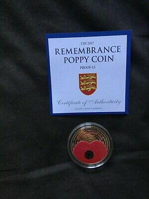 Jersey PROOF £5 Five Pound Remembrance Poppy Coin 2017 24 ct Gold Plating
