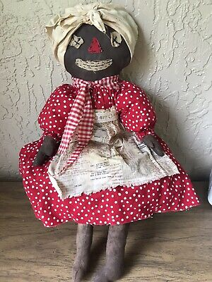 Primitive Belindy rag doll black Folk art Americana Red Grungy Handmade 26 inch