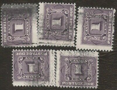 Stamps Canada # J1, 1¢, 1906, lot of 5 used stamps.