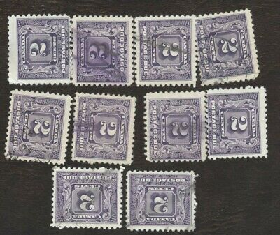 Stamps Canada # J7, 2¢ 1930-32, lot of 10 used stamps.