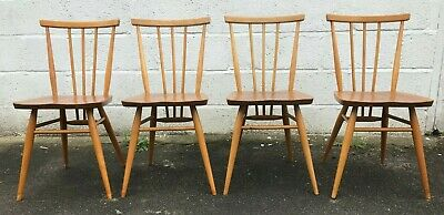 Vintage Ercol Dining Chairs Blonde Mid Century