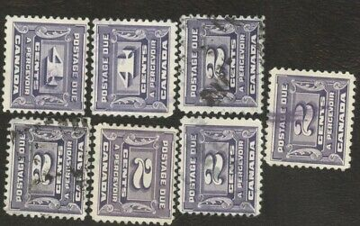 Stamps Canada # J12, 4¢ 1933-34, lot of 7 used stamps.