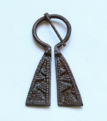 AUTHENTIC MEDIEVAL VIKING BRONZE PENANNULAR OMEGA BROOCH- 8th-10th cent. A.D.