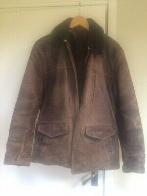 Vintage Brown Zipped Leather Coat with Sheepskin Collar Medium