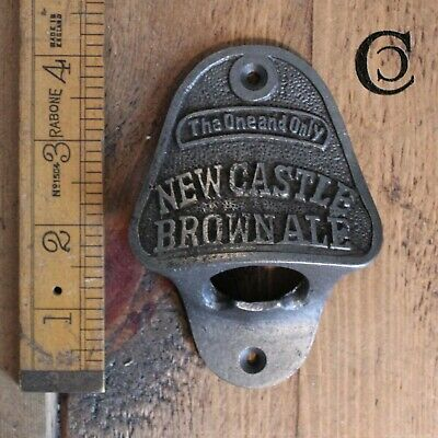 Vintage cast iron novelty wall mounted bottle opener- Newcastle brown ale