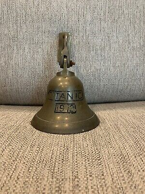 Vintage Brass Wall Mount 1912 RMS Titanic Hanging Ships Bell  Decor