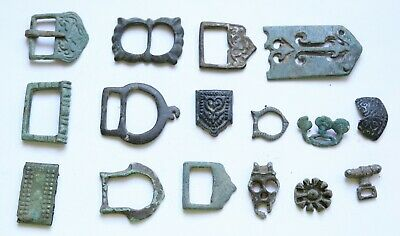 Job Lot of ancient VIKING ERA bronze BELT MOUNTS