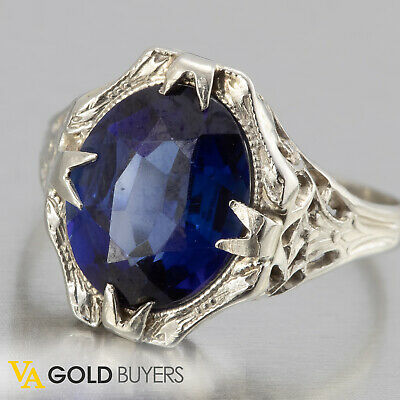 1930s Antique Art Deco 14k White Gold Filigree Sapphire Cocktail Ring - Size 5