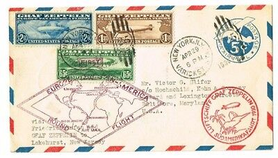 1930 Graf Zeppelin Germany - Brazil - US Flight with US Stamps C13 - C14 - C15