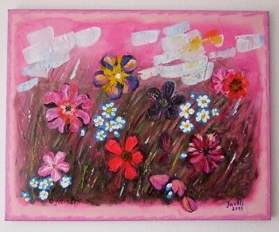 Abstract Meadow Original Acrylic Painting Impasto Art Flowers Landscape Pink