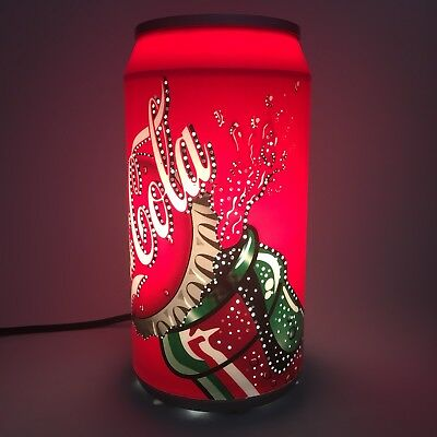 """Coca Cola Can Lamp Rotating Sparkling Motion Light Electric Red Plastic 10"""""""