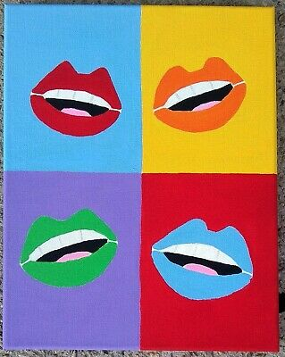Lips Painting is an Original sexy lips Pop Art painting on 11x14 Canvas
