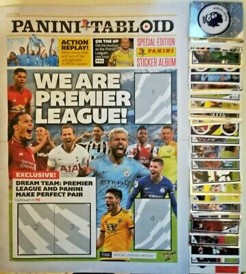 Panini Tabloid 2019 Premier League Complete Set Of 120 Stickers + Empty Album