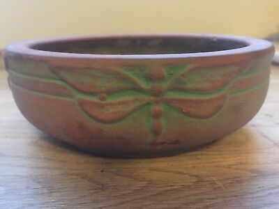 Peters & Reed Antique c1900 American Art Pottery Arts & Crafts DragonFly Bowl