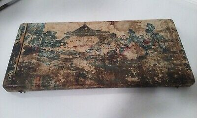 Antique Japanese Wood & Paper Cutlery Knife Box Woodblock Print Silk Lined Japan