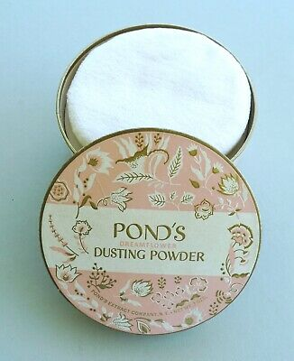 Vintage sealed Pond's Dreamflower Dusting Powder puff full unopened pink striped